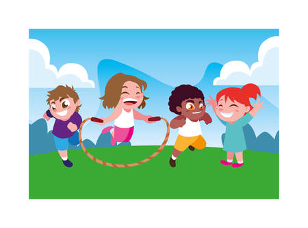 children smiling and playing with skipping rope vector illustration design Reklamní fotografie - 134151489