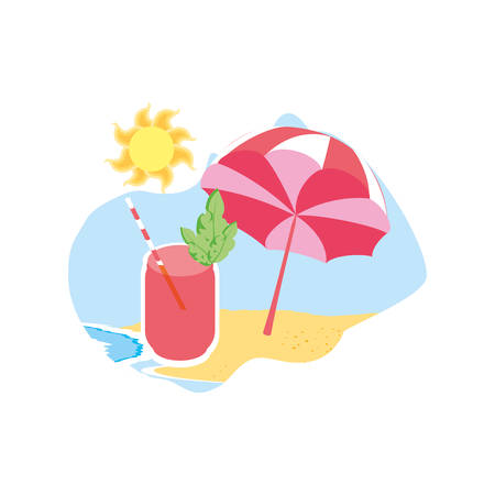 beach umbrella open in the beach with juice vector illustration design