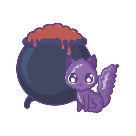 cauldron bubbly of witch with cat on white background vector illustration design
