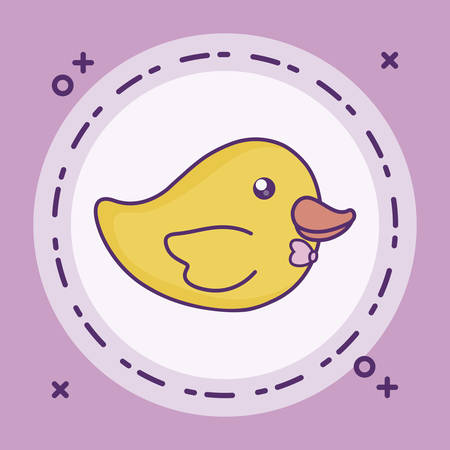 duck toy baby in frame circular vector illustration design