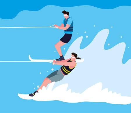 young men practicing water skiing vector illustration design