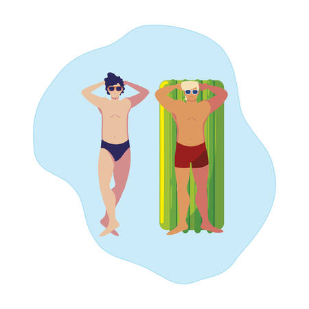 young men with swimsuit and float mattress in water vector illustration design  イラスト・ベクター素材