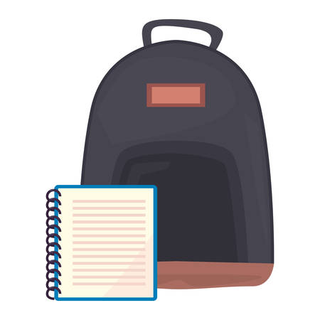 notebook and backpack back to school vector illustration