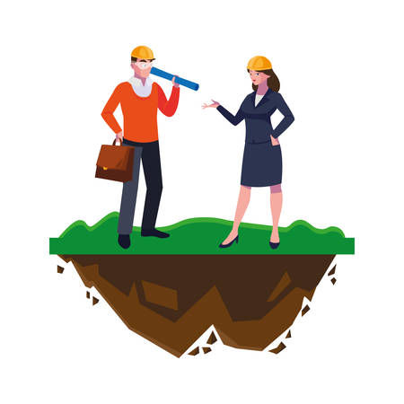 Architekt Baumeister mit Ingenieurin auf dem Rasenvektor-Illustrationsdesign