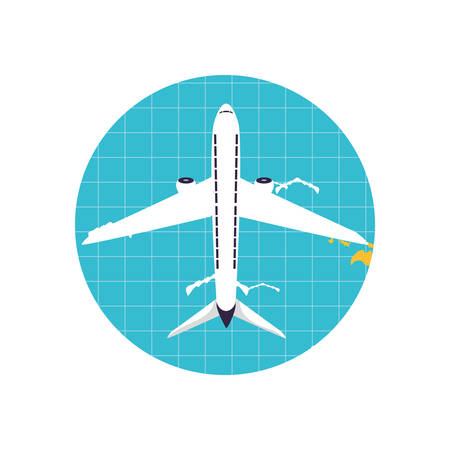 airplane flying vehicle in world planet vector illustration design