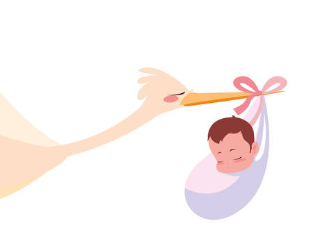 stork carrying a cute baby vector illustration Illustration