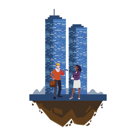 architect with afro female engineer and building vector illustration design