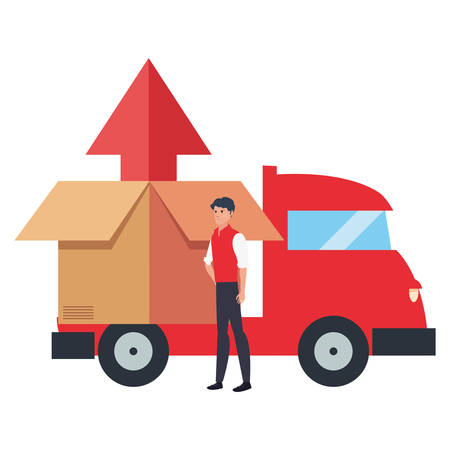man box in delivery truck logistic vector illustration