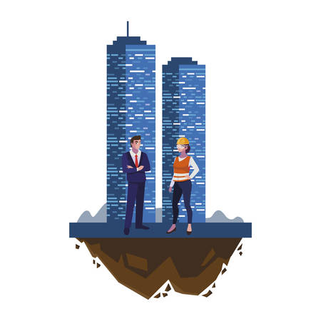 engineer with female builder and building vector illustration design