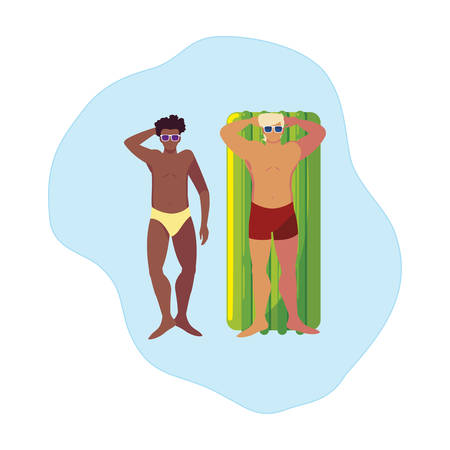 interracial men with swimsuit and float mattress in water vector illustration design