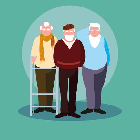 group of old men avatar character vector illustration design