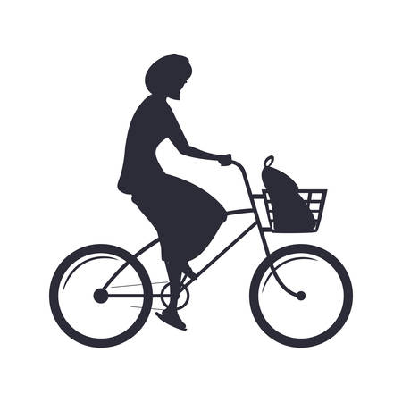 woman silhouette riding bicycle activity image on white backrgound vector illustration