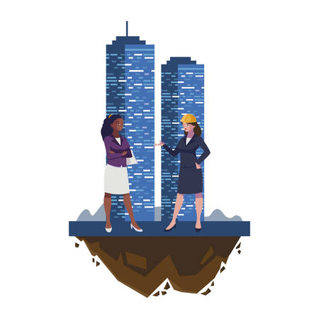 interracial female engineers workers with building vector illustration design
