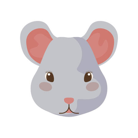 head of cute mouse with white background vector illustration design