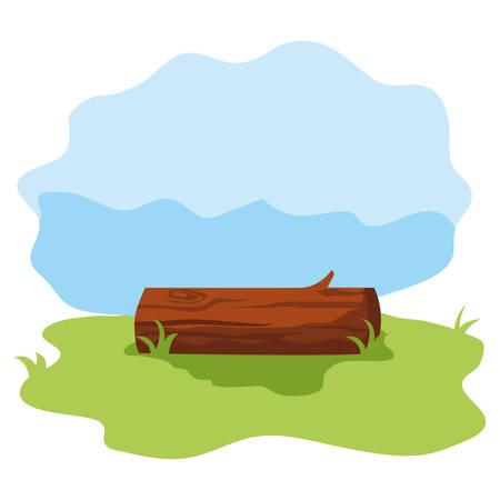 wooden trunk medaow nature landscape vector illustration
