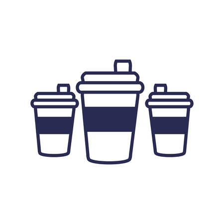 set of beverages in plastic container vector illustration design