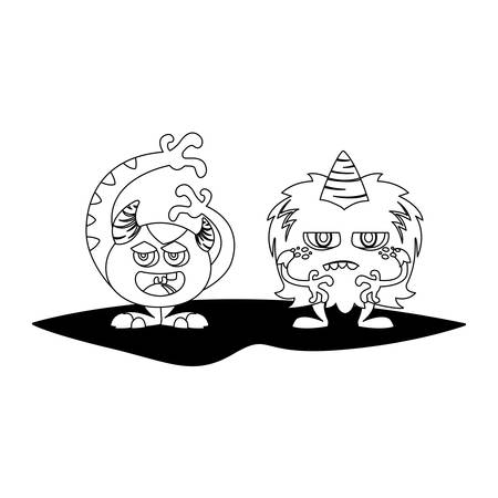 funny monsters couple comic characters monochrome vector illustration design