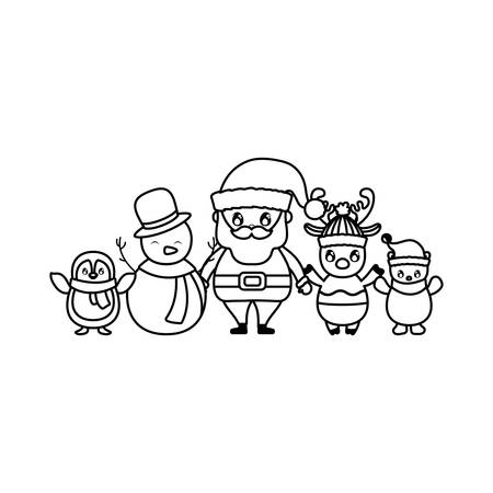 card of christmas with icons of xmas vector illustration design Çizim