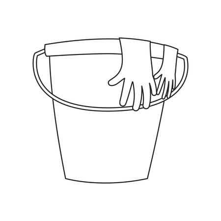 bucket gloves cleaning supply on white background vector illustration outline