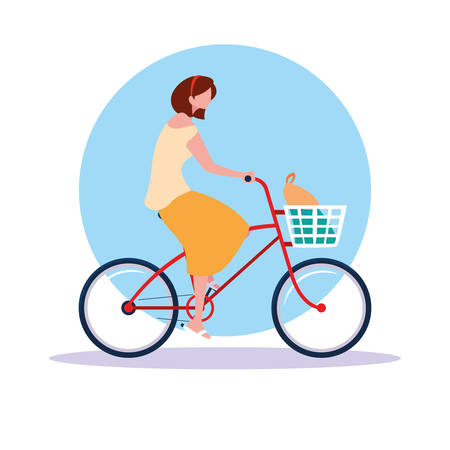 young woman riding bike avatar character vector illustration design