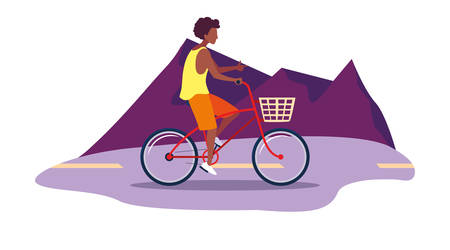 man riding bicycle activity outdoors scene vector illustration 向量圖像