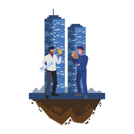 interracial male builders constructors with building vector illustration design