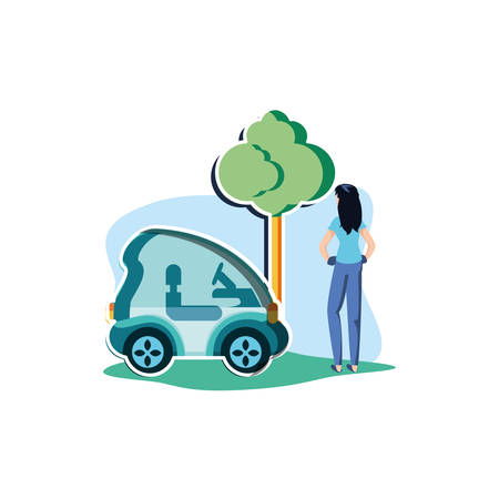 Avatar woman and car design, Sustainability eco friendly green recycle ecology renewable and solution theme Vector illustration