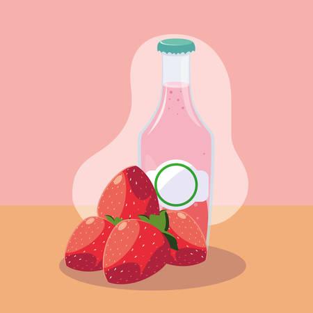 fresh strawberries with bottle of juice natural vector illustration design
