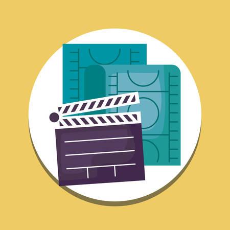 cinema clapboard with tape film vector illustration design