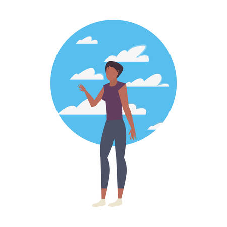 woman avatar character with sky background vector illustration Ilustracja