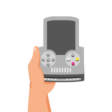 gamer hand with handle video game device vector illustration design