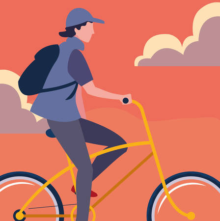 man riding bicycle activity sky background vector illustration