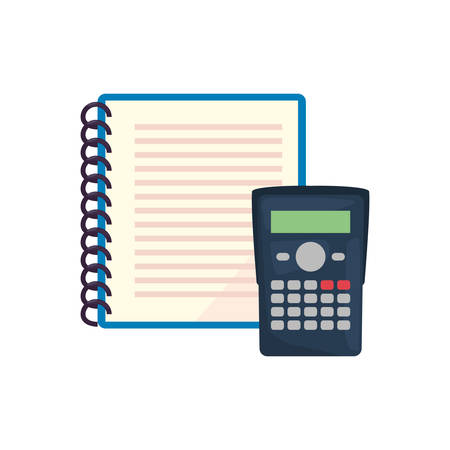notebook and calculator back to school vector illustration