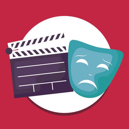 cinema clapboard with mask theater vector illustration design