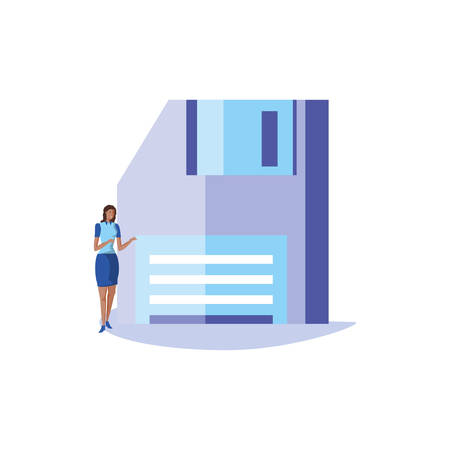 business woman elegant with floppy disk vector illustration design Illusztráció