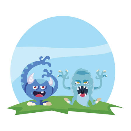 funny monsters couple in the field characters colorful vector illustration design Illusztráció