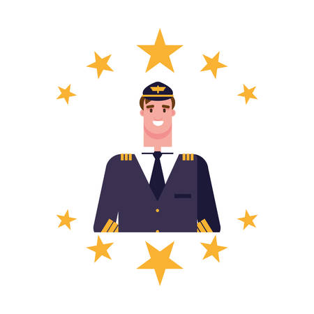 happy labor day - pilot stars emblem vector illustration Çizim