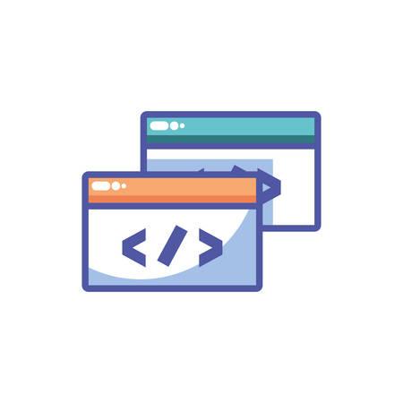 symbol custom coding in white background vector illustration design