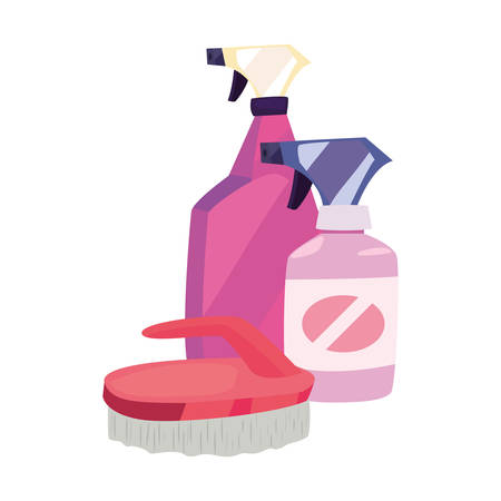 spray bottle brush cleaning products and supplies vector illustration