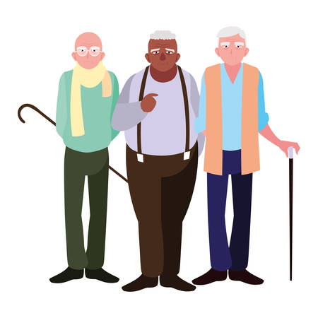 Grandfathers cartoons design, Old person grandparents man avatar senior and adult theme Vector illustration
