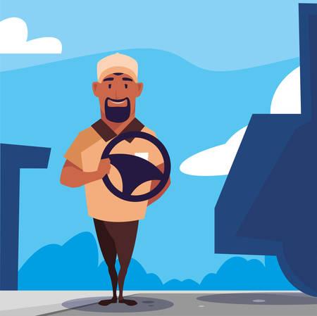 driver man holding a steering wheel vector illustration design Stock Vector - 134121203