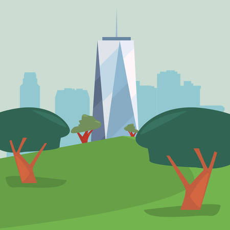 high building city park panorama vector illustration 일러스트