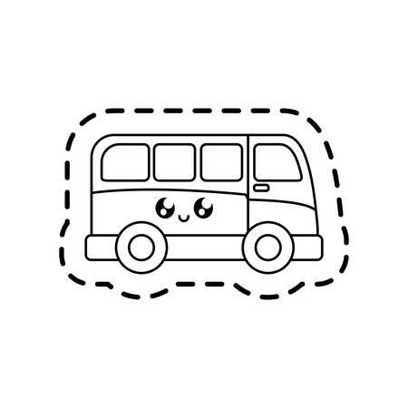 patch van vehicle transportation kawaii vector illustration design Illustration