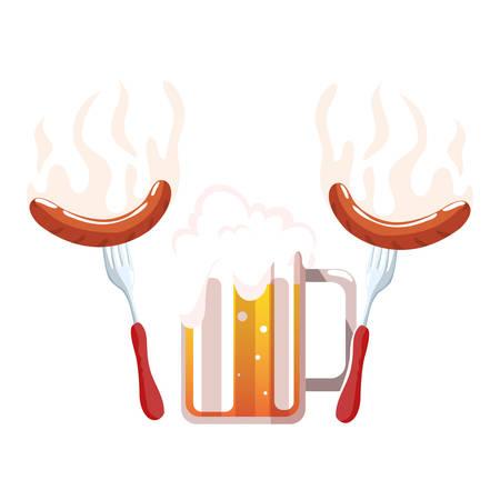 mug of beer with grilled sausage in white background vector illustration design