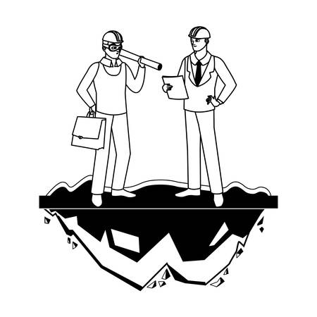 architect builder with engineer characters vector illustration design