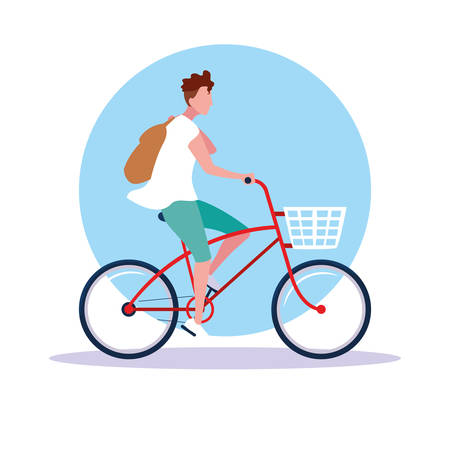 young man riding bike avatar character vector illustration design