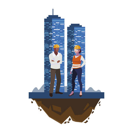 interracial couple of builders workers with building vector illustration design Illustration