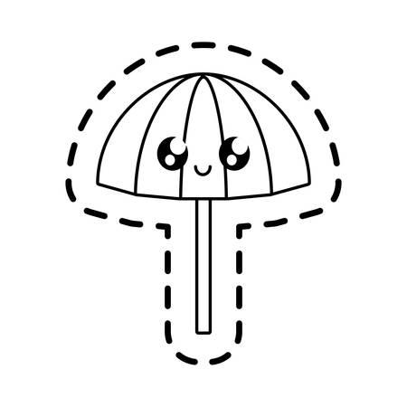 patch of beach umbrella open kawaii vector illustration design