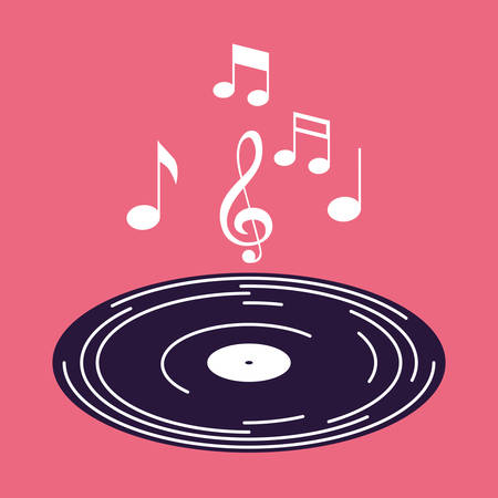 poster with long play with notes music vector illustration design