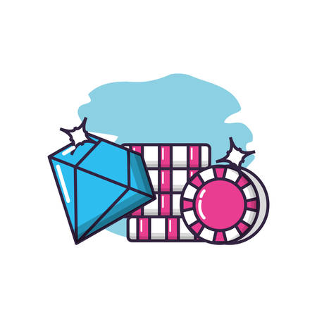 casino games chips with diamond vector illustration design 일러스트